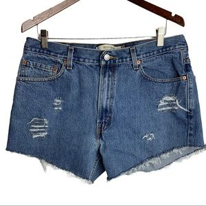 Levi's 505 Upcycled Distressed Jean Shorts W36